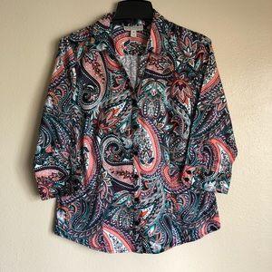 Dana Buchman Colorful Paisley Button Up Blouse M